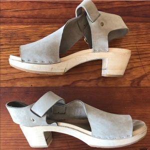 BRYR T-strap, Spanish toe, mid heel, nubuck clogs